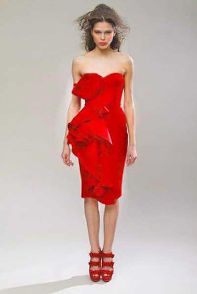Marchesa Short Red Valentine's Day Dress Nazmiyal
