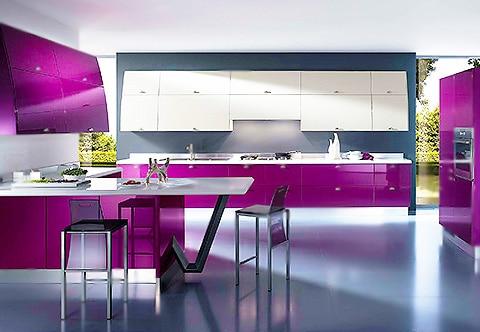 Modern Purple Kitchen Interior Design by Nazmiyal