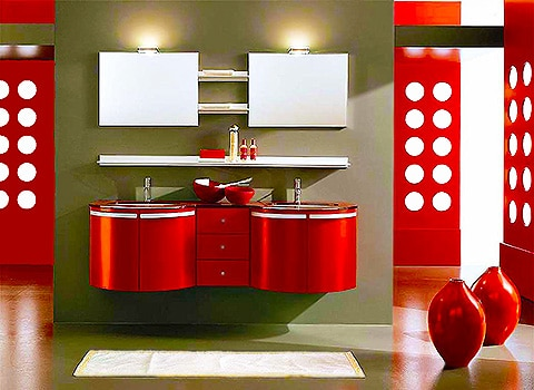 Modern red Bathroom Interior Design by Nazmiyal