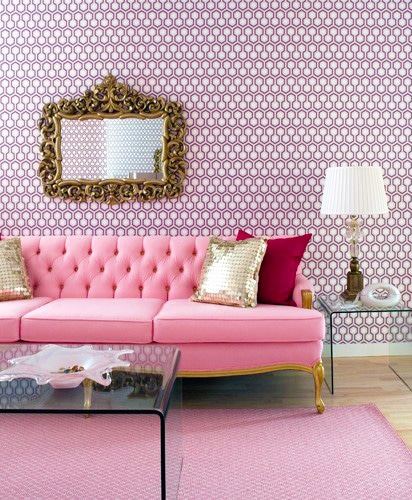 Pale Pink Living Room Interior Design by nazmiyal