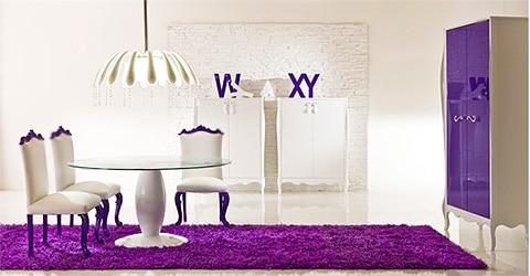Purple Dining Room Interior Design by Nazmiyal