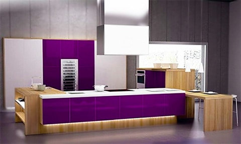 Purple Kitchen Interior Design by Nazmiyal