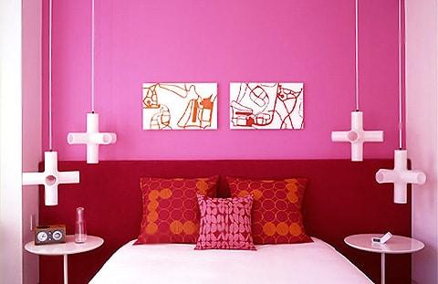 Purple and Pink Tribeca Loft Bedroom Interior Design by Nazmiyal