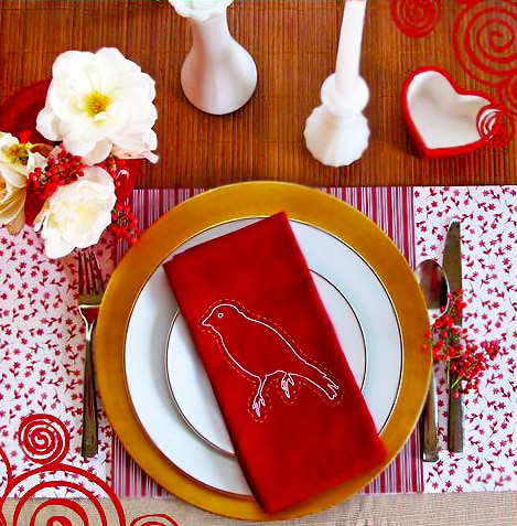Red and White Valentines Day Country Style Table Setting by Nazmiyal