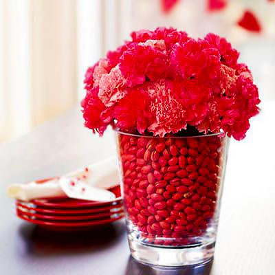 Red Carnation Flowers Valentines Day Table Setting by Nazmiyal