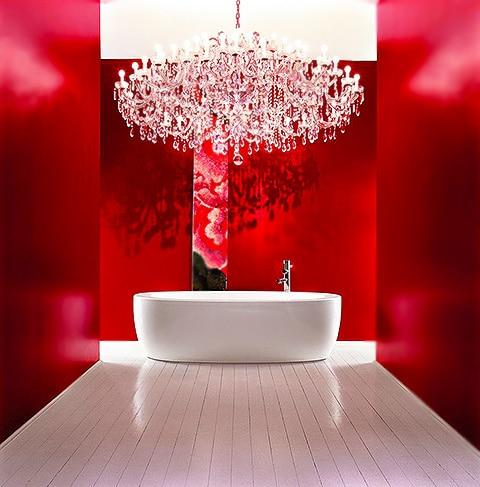 Red Modern Bathroom Interior Design by nazmiyal