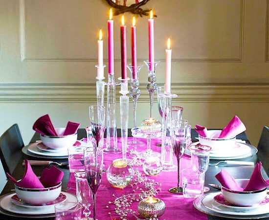 Valentine's Day Guide - Romantic Candle Lit Purple Valentines Day Table Setting by Nazmiyal