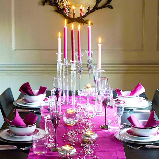 Romantic Candle Lit Purple Valentines Day Table Setting by Nazmiyal