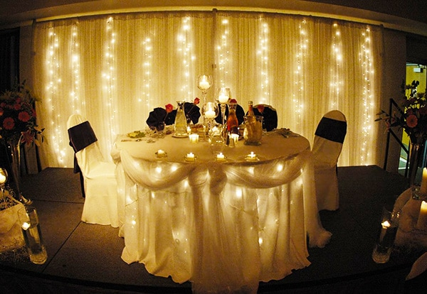 Romantic Twinkle Lights Themed Valentine Table Setting by Nazmiyal