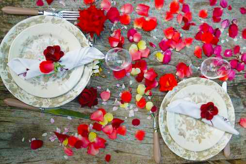 Romantic Valentine Day Rose Petals Themed Table Setting by nazmiyal