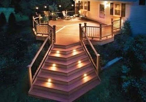 Solar Powered Eco Friendly LED Lighting Modern Deck Design by Nazmiyal