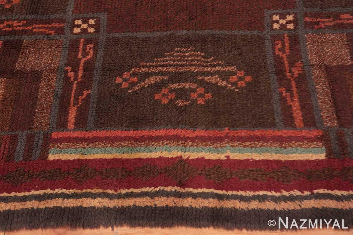 Border Vintage Scandinavian Swedish Rya rug 45786 by Nazmiyal