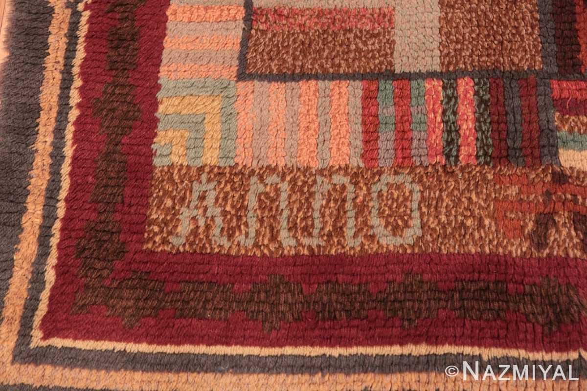 Corner Vintage Scandinavian Swedish Rya rug 45786 by Nazmiyal