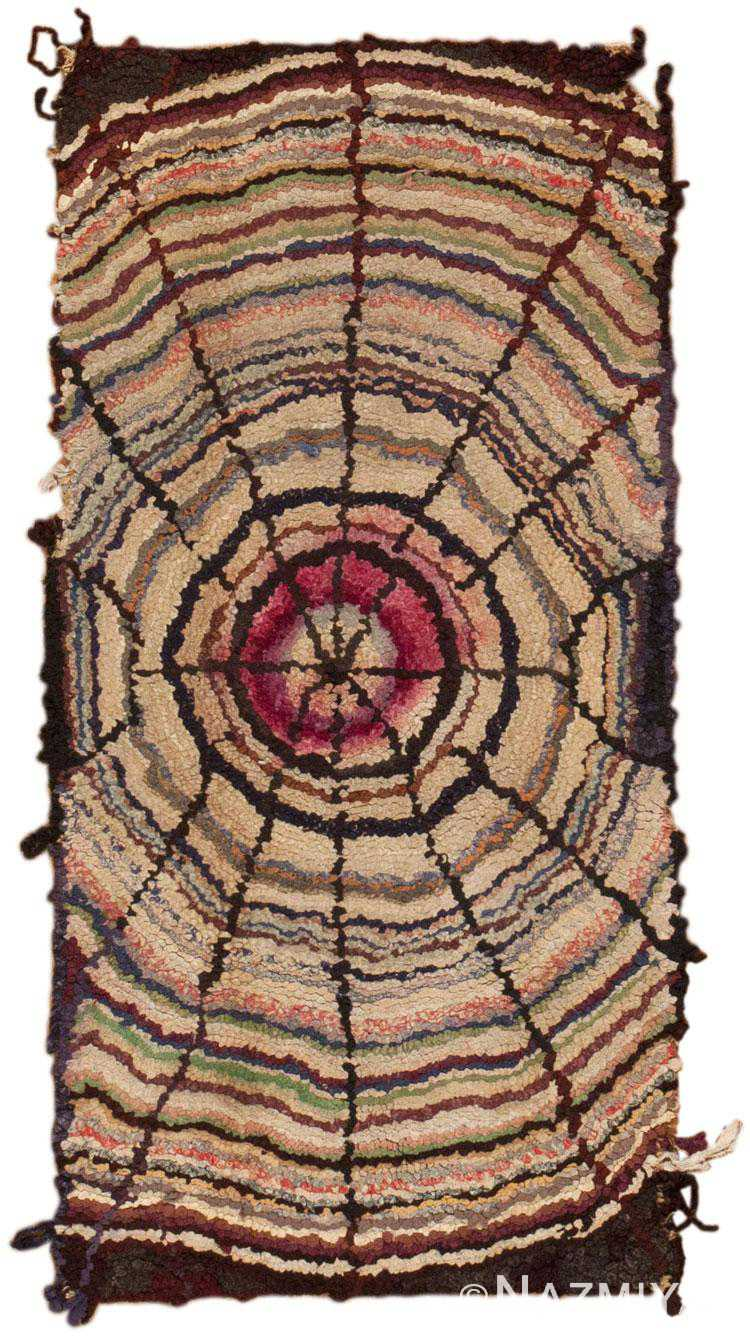 Antique Spider Web Design Hooked Rug 45775