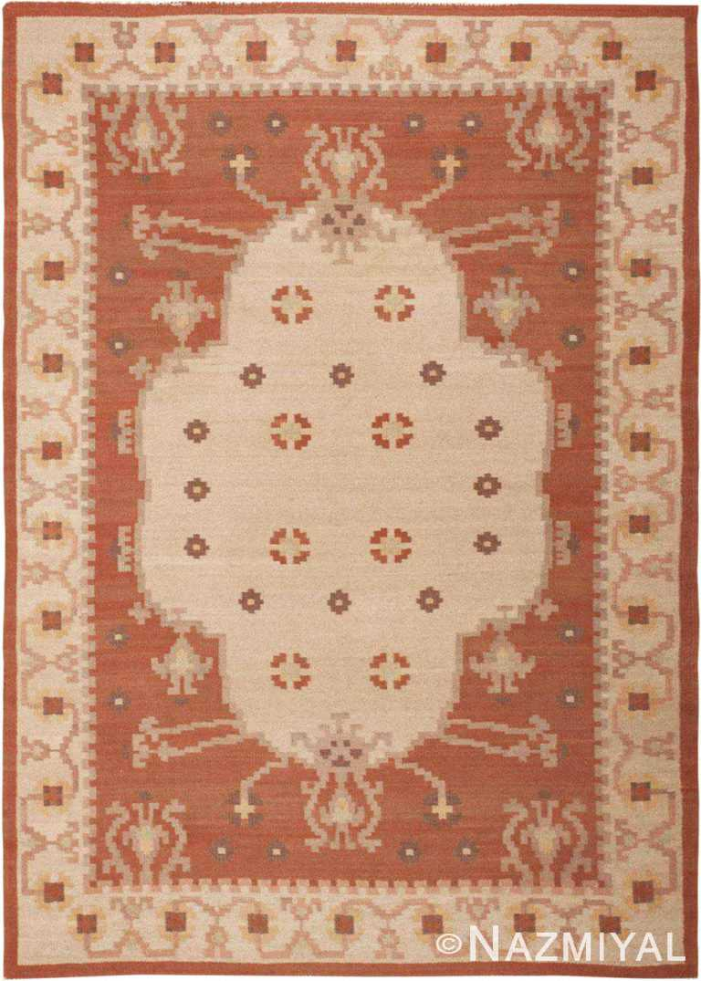 Vintage Swedish Flat Woven Area Rug #45788 by Nazmiyal Antique Rugs