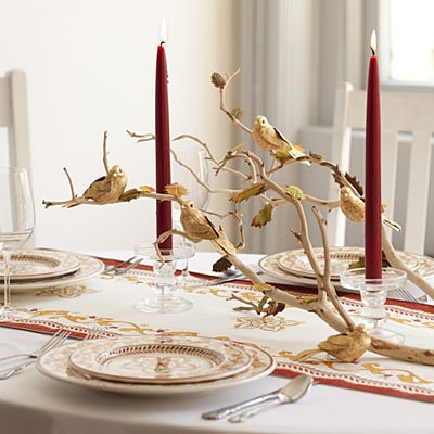 Winter Wonderland Table Setting--Gold Birds