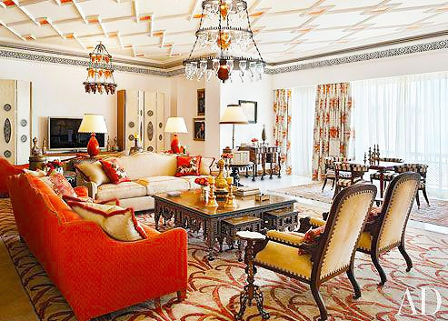 Alberto Pinto Living Room Interior Design by Nazmiyal