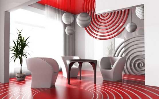Red And White Interior Design