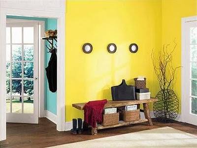 Yellow and Teal Accent Walls
