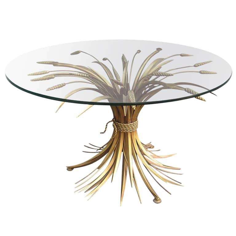 Vintage Coco Chanel Sheaf Wheat Cocktail Table nazmiyal