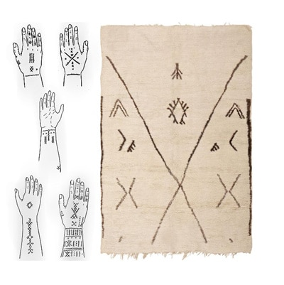 Image of a Beni Ourain Rug and an Image of the Berber Tribe Tattoos by Nazmiyal