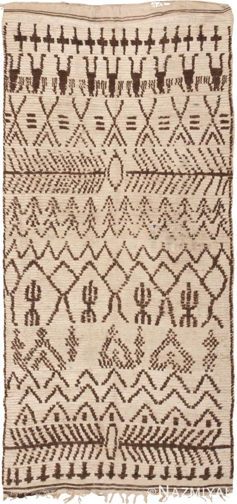 Tribal Vintage Moroccan Beni Ourain Area Rug #46042 by Nazmiyal Antique Rugs