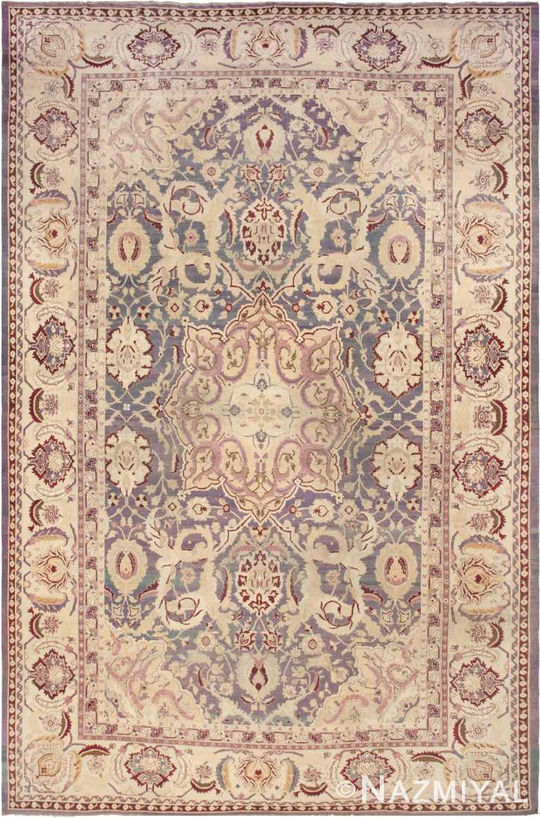 Oversized Purple Antique Indian Agra Area Rug 45976 by Nazmiyal Antique Rugs