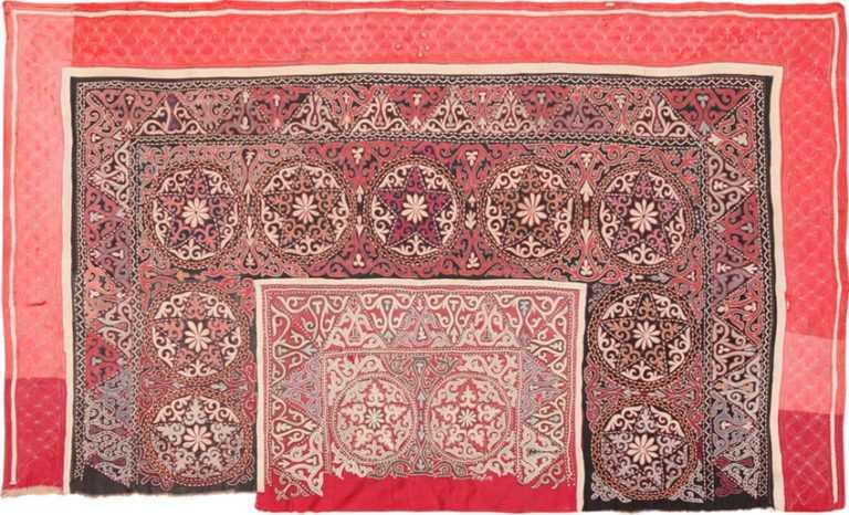 Full view antique Uzbekistan uzani textile 46140 by Nazmiyal