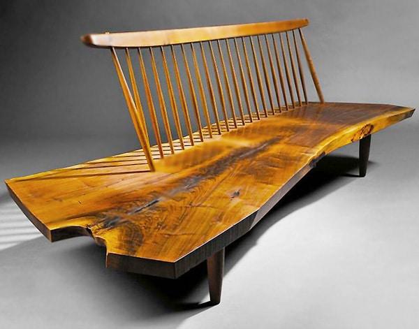 Mid Century Wooden Conoid Bench Designed by George Nakashima Nazmiyal