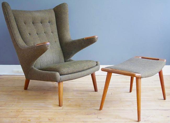 Mid Century Papa Bear Chair and Ottoman Designed by Hans Wegner Nazmiyal