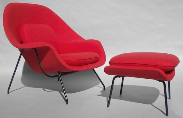 Mid Century Red Womb Chair Designed By Saarinen Nazmiyal