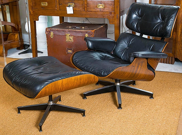 Mid Century Leather Lounge Chair and Ottoman Designed by Eams Nazmiyal