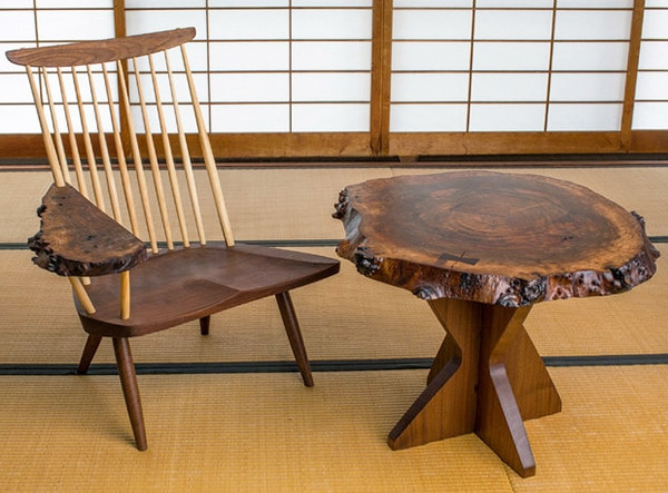 Mid Century End Table and Chair Designed by George Nakashima Nazmiyal