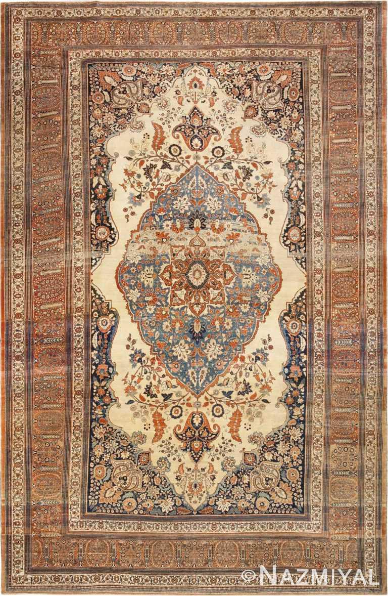 Fine Sky Blue Medallion Antique Persian Tabriz Rug #45778 by Nazmiyal Antique Rugs