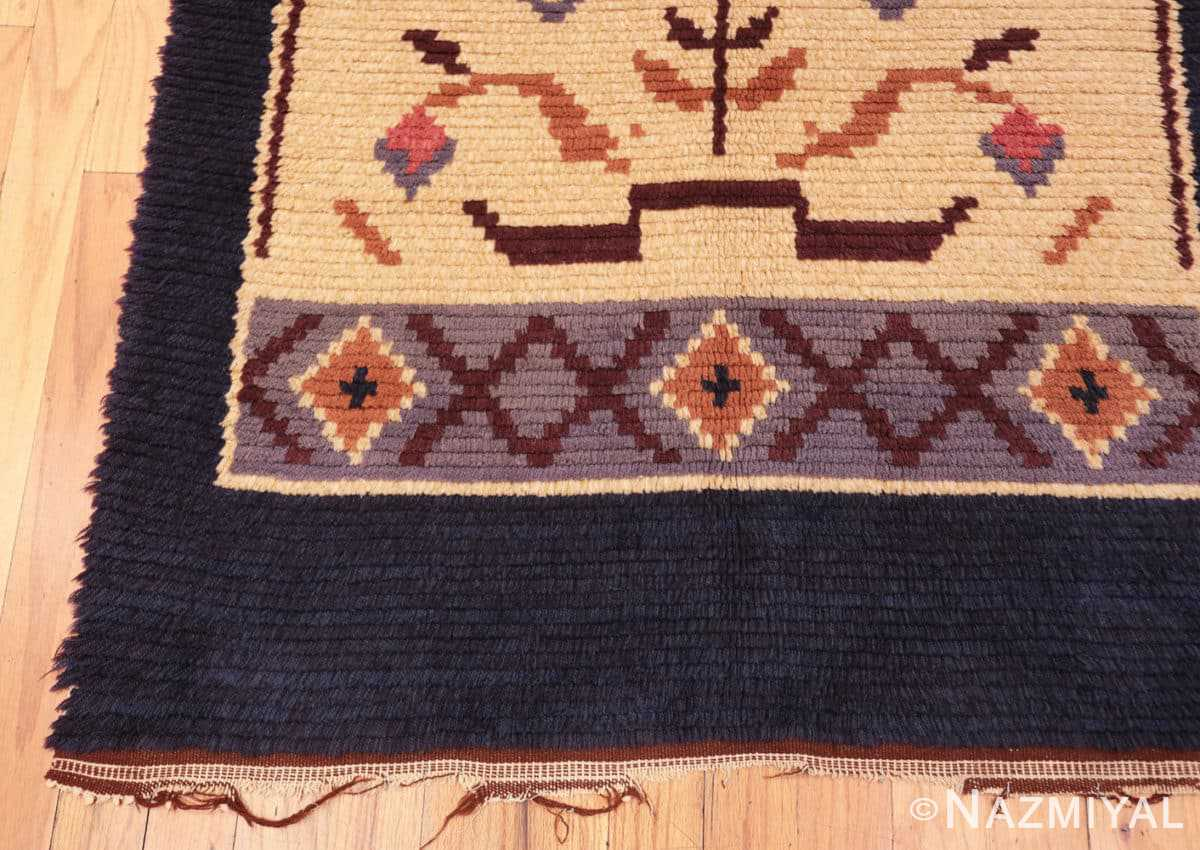 Corner Vintage Swedish design by Barbro Springchorn rug 46144 from the Nazmiyal collection