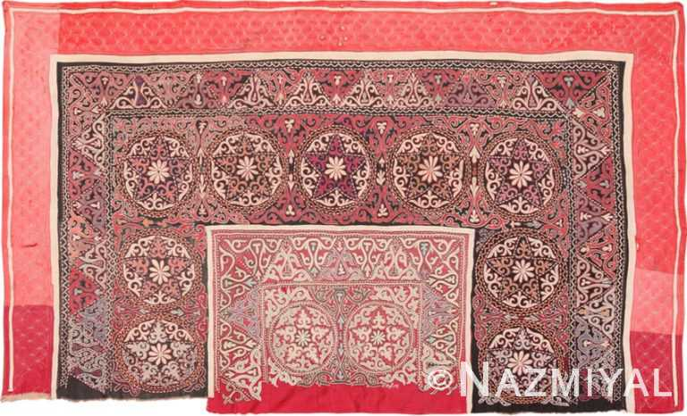 Full view antique Uzbekistan uzani textile 46140 by Nazmiyal
