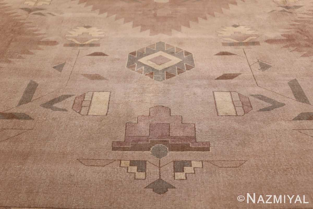 Large Oversized Geometric Art Deco Indian Vintage Rug 44926 Yellow Flowers Nazmiyal