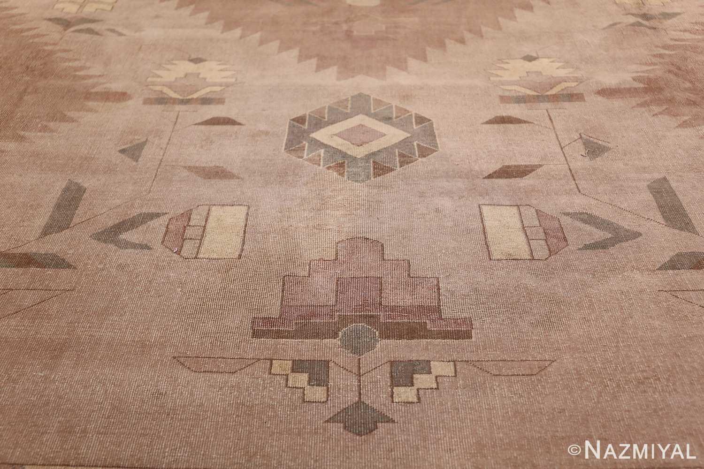 Large Oversized Geometric Art Deco Indian Vintage Rug 44926 Yellow Flowers Nazmiyal