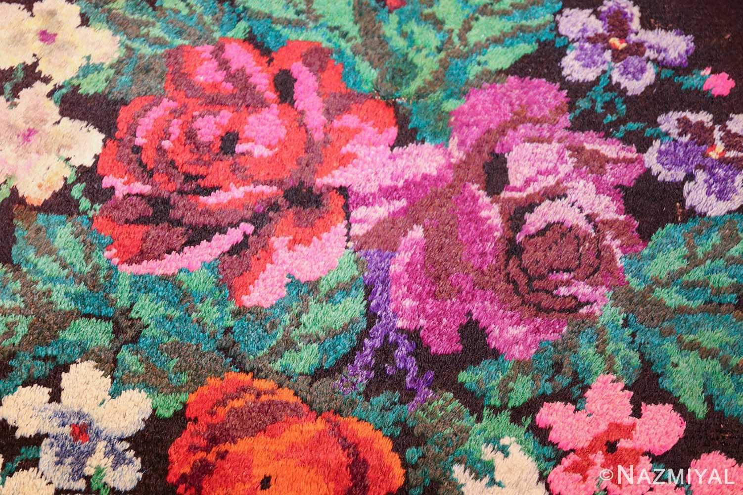 vintage swedish rug 46145 flower Nazmiyal