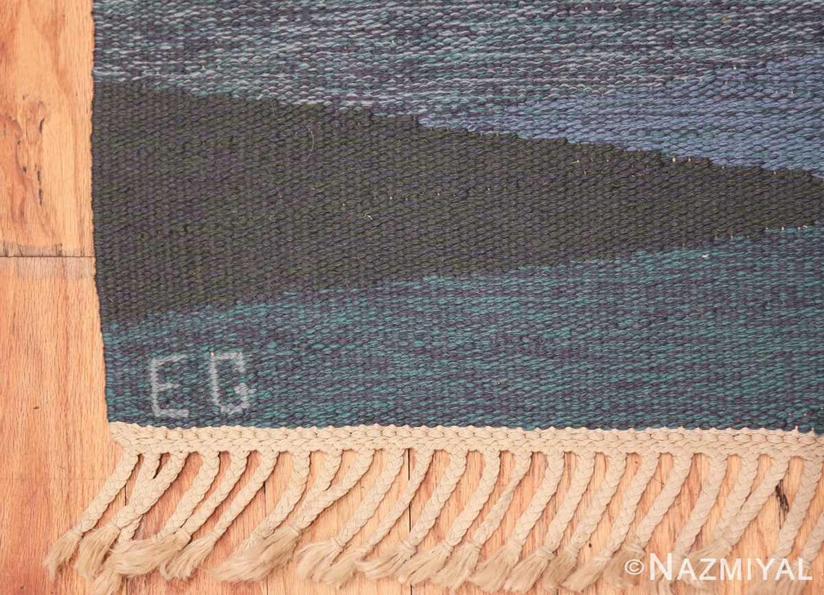 vintage swedish rug by elsa Gullberg 46162 initials Nazmiyal