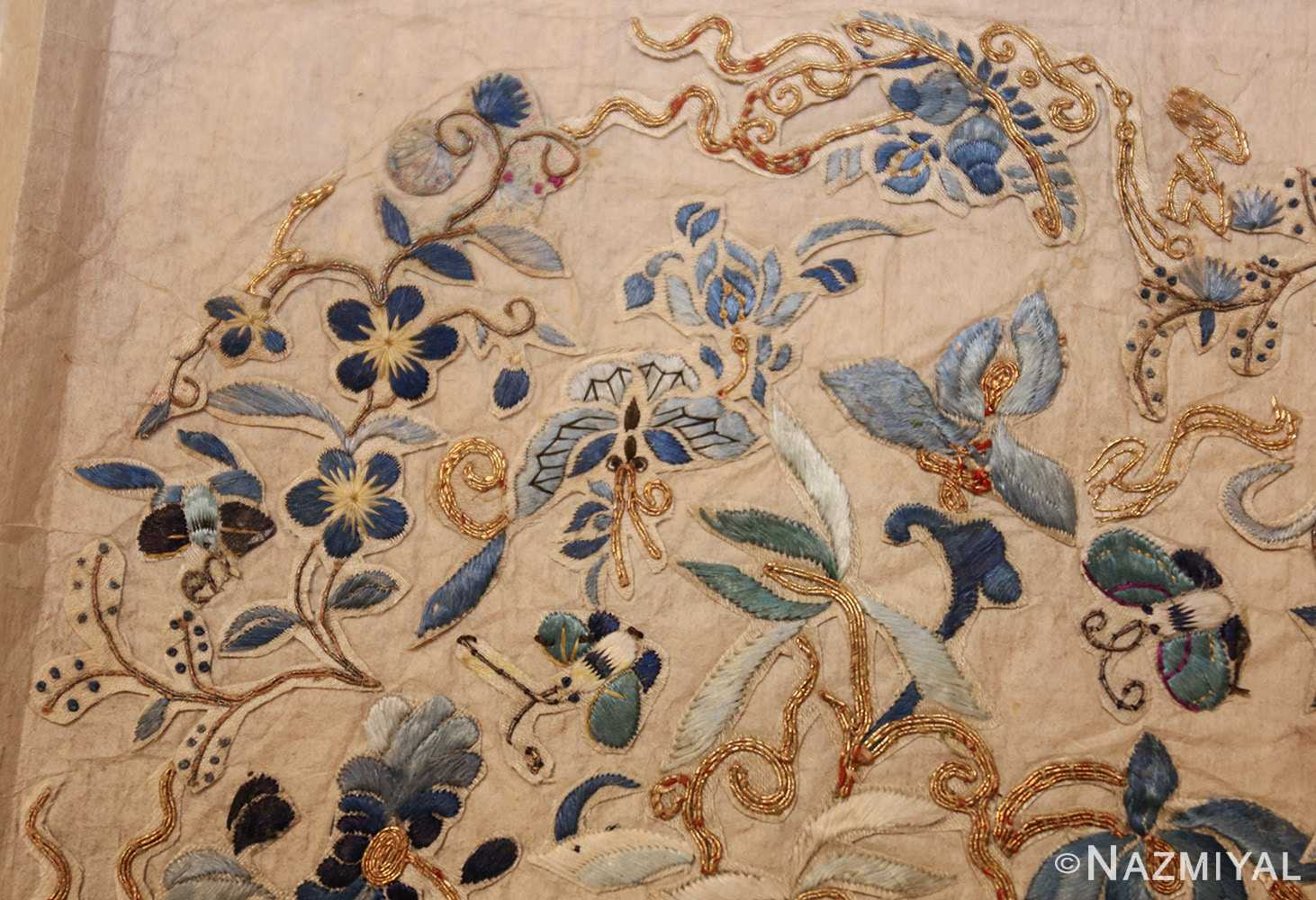 antique chinese embroidery textile 46184 butterfly Nazmiyal