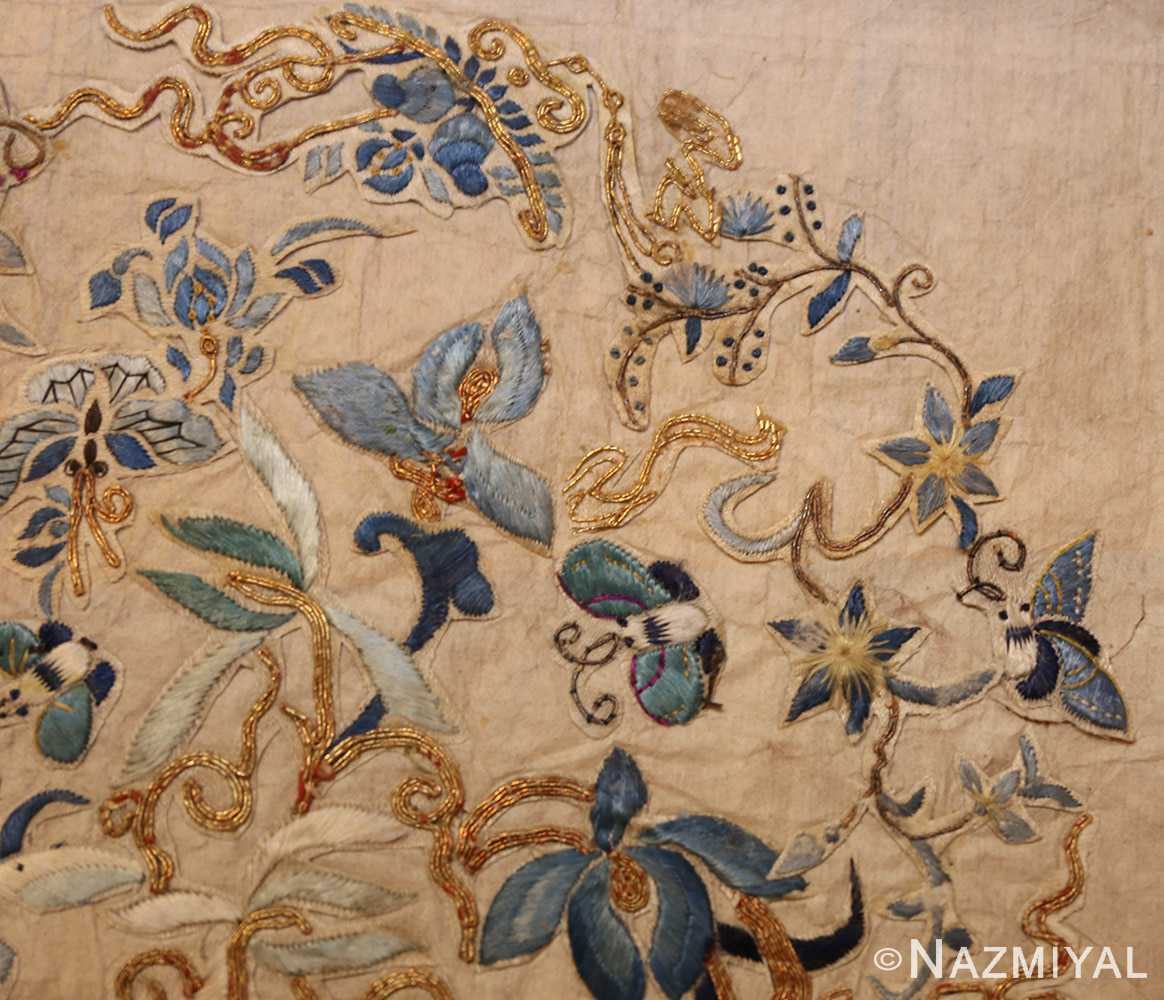 antique chinese embroidery textile 46184 flower Nazmiyal