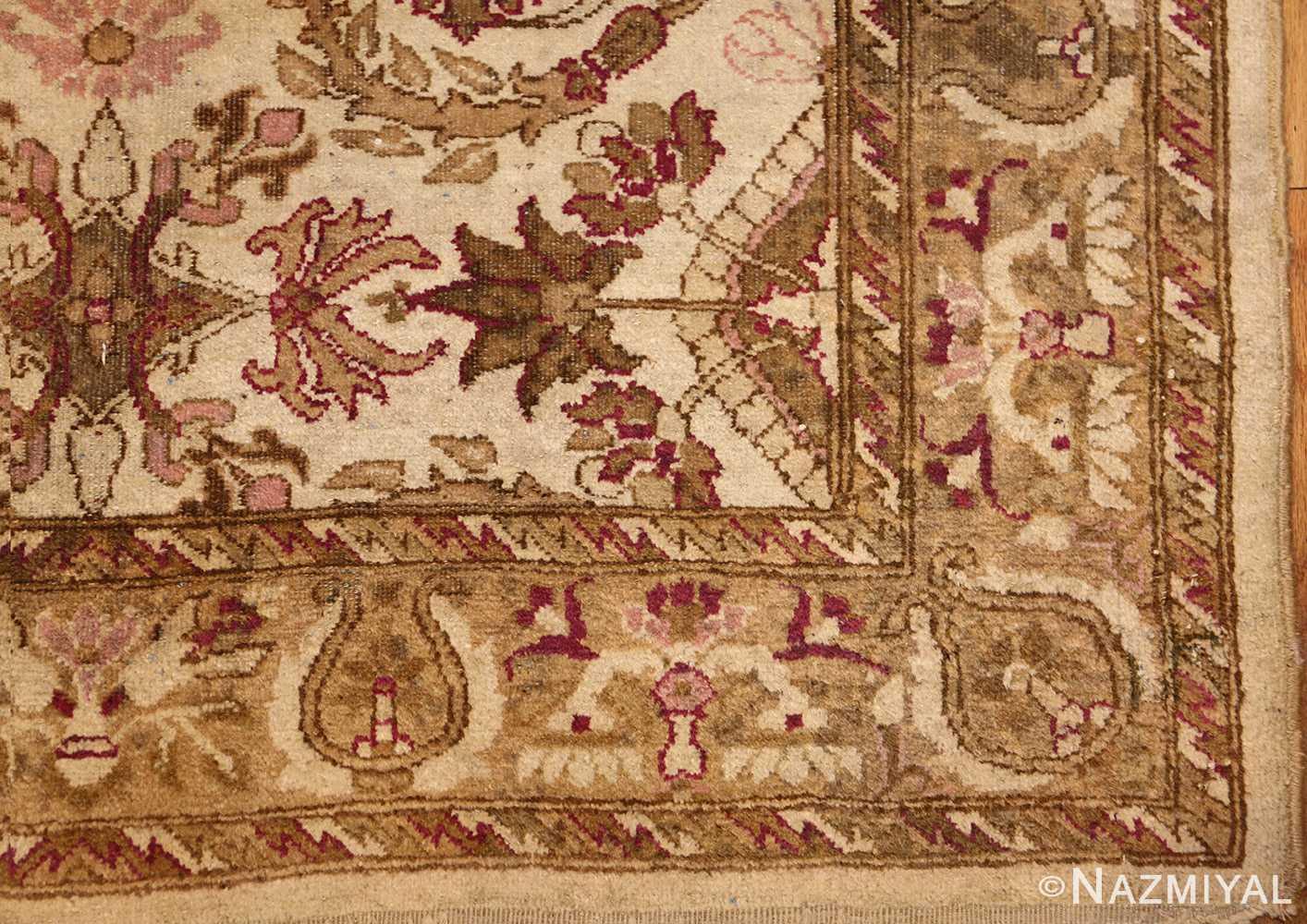 antique indian agra rug 46163 corner Nazmiyal