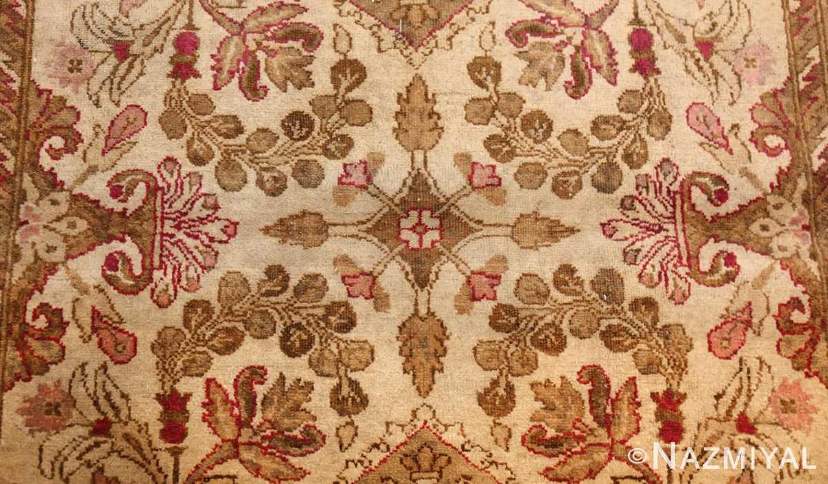 antique indian agra rug 46163 flowers Nazmiyal