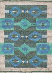vintage swedish double sided rug 46212 Nazmiyal