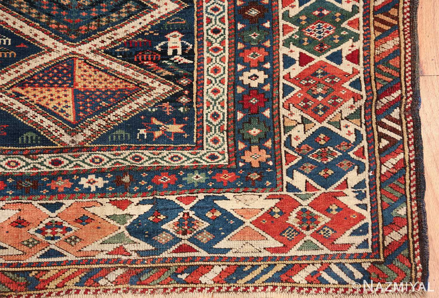 antique caucasian shirvan rug 46196 corner Nazmiyal
