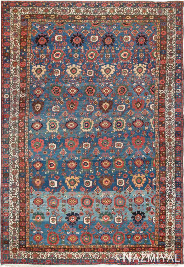Oversized Blue Antique Persian Malayer Geometric Area Rug #45761 by Nazmiyal Antique Rugs