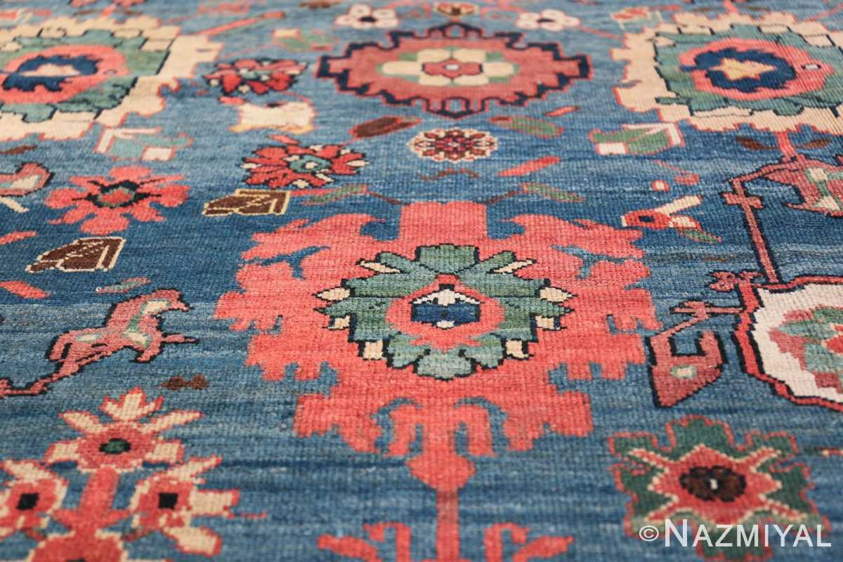 Oversized Blue Antique Persian Malayer Geometric Rug 45761 Central Leaf Nazmiyal