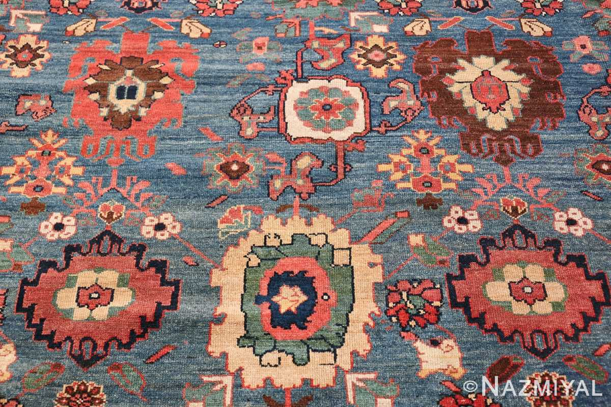 Oversized Blue Antique Persian Malayer Geometric Rug 45761 Top Down View Nazmiyal