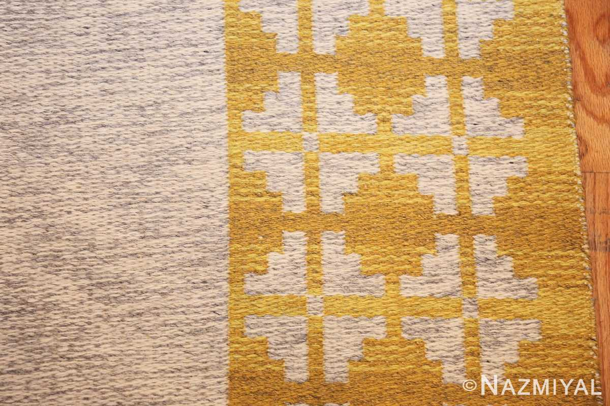 vintage swedish double sided kilim 46208 gray border Nazmiyal